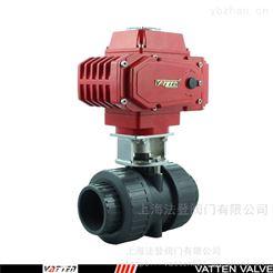 Q691F进口UPVC电动球阀 电动塑料球阀 过酸碱污水