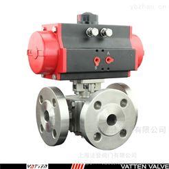 Q644F气动双作用三通法兰球阀 介质流向切断阀门