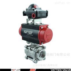 VATTEN气动304不锈钢丝口球阀 气动螺纹排水球阀