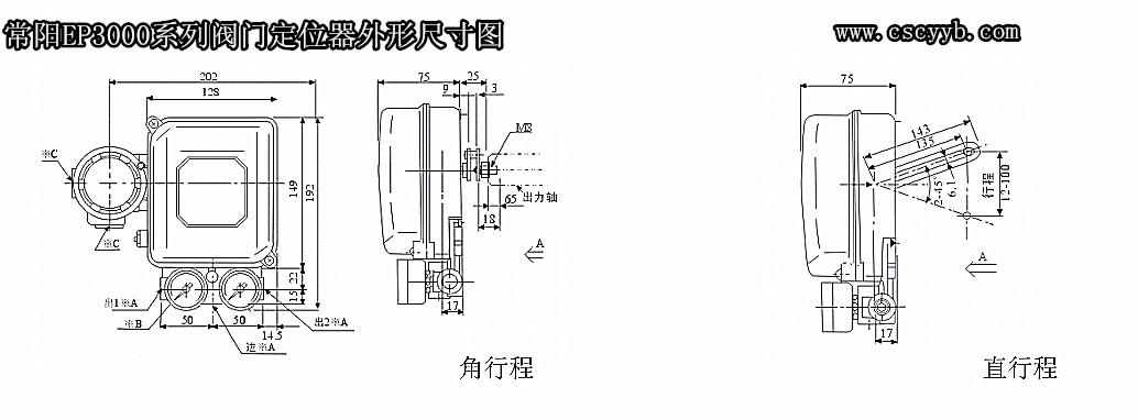 EP3000电气阀门定位器外形尺寸图