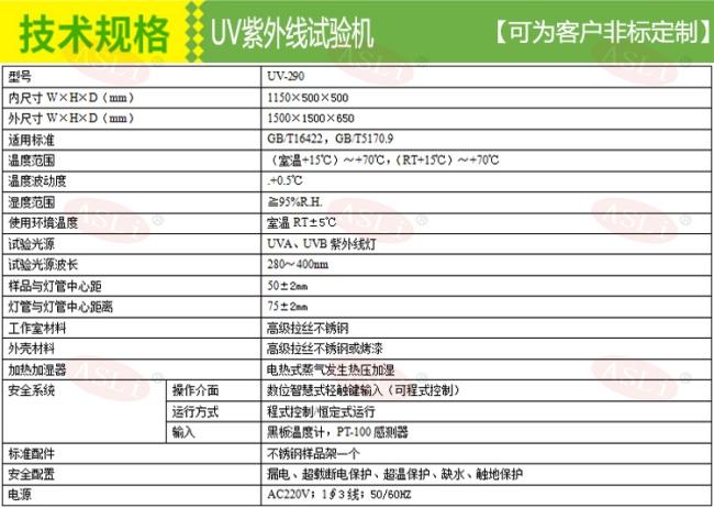 非标紫外线老化试验箱技术规格