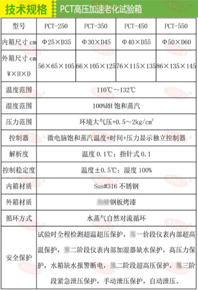 <strong>pct高压老化试验机</strong>技术规格