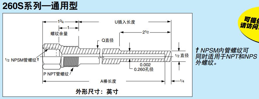 <strong>美国OMEGA标准螺纹套管组装260S系列</strong>